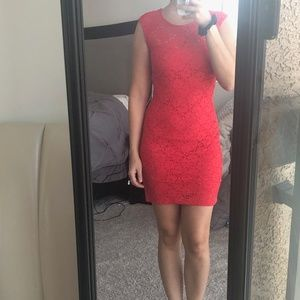 BEBE Coral Lace Dress Small